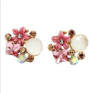 Bright pink crystal beetle flower earrings